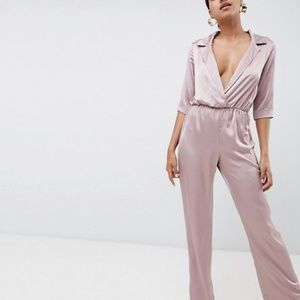 MISSGUIDED Satin Jumpsuit in Dusky pink
